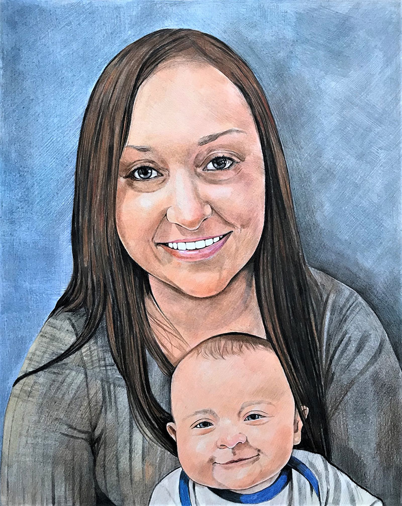 Handmade color pencil drawing of a mom and son