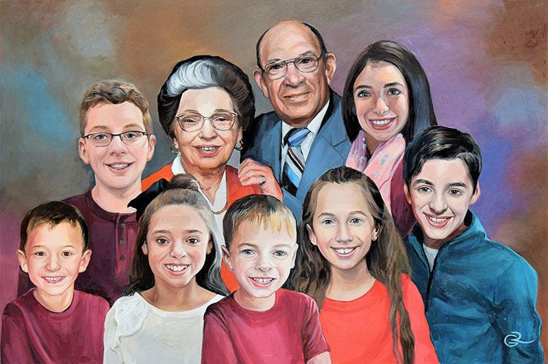 Handmade family portrait in oil