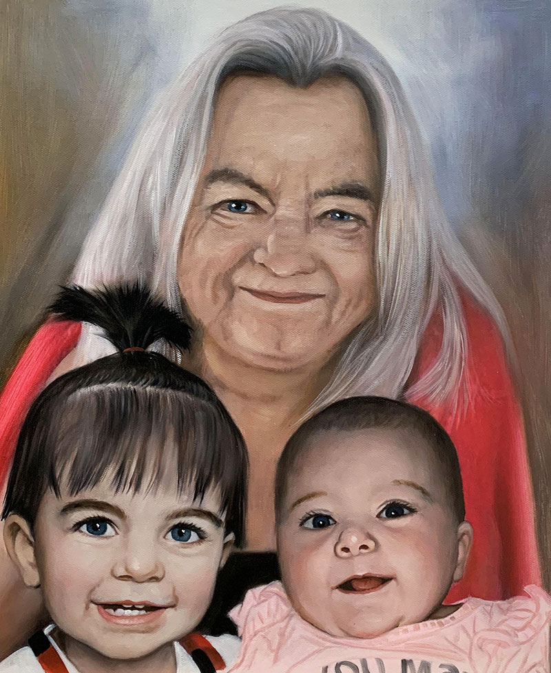 Hand drawn oil painting of a grandmother with granchildren
