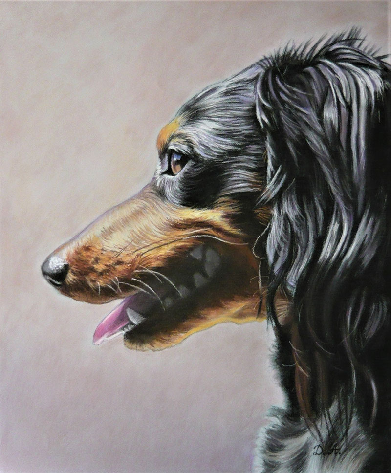 Handmade pastel painting of a dog