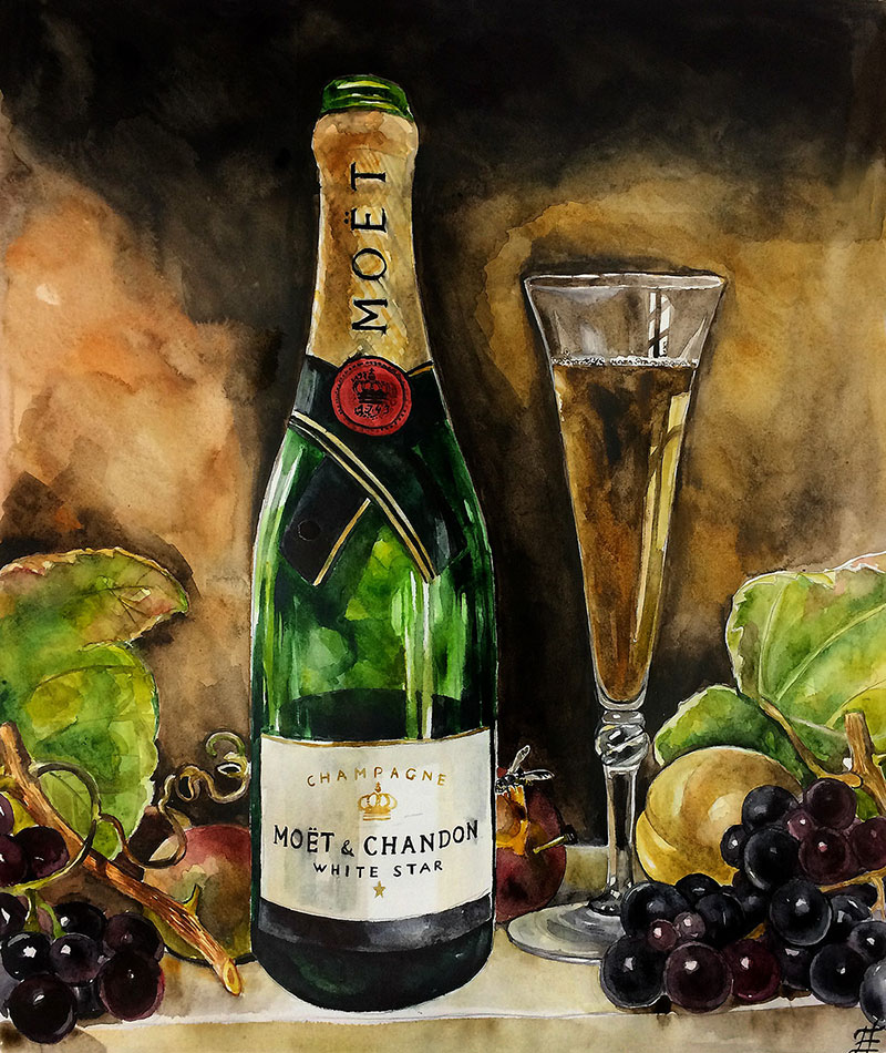 Custom watercolor painting of a champagne MOET