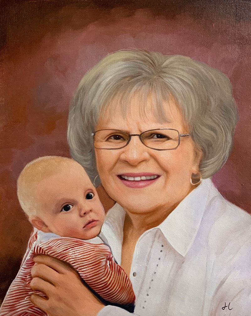 Personalized acrylic portrait of a woman and a baby