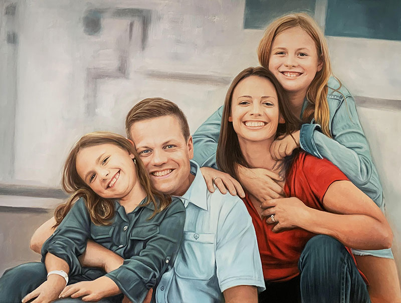 Beautiful acrylic family portrait