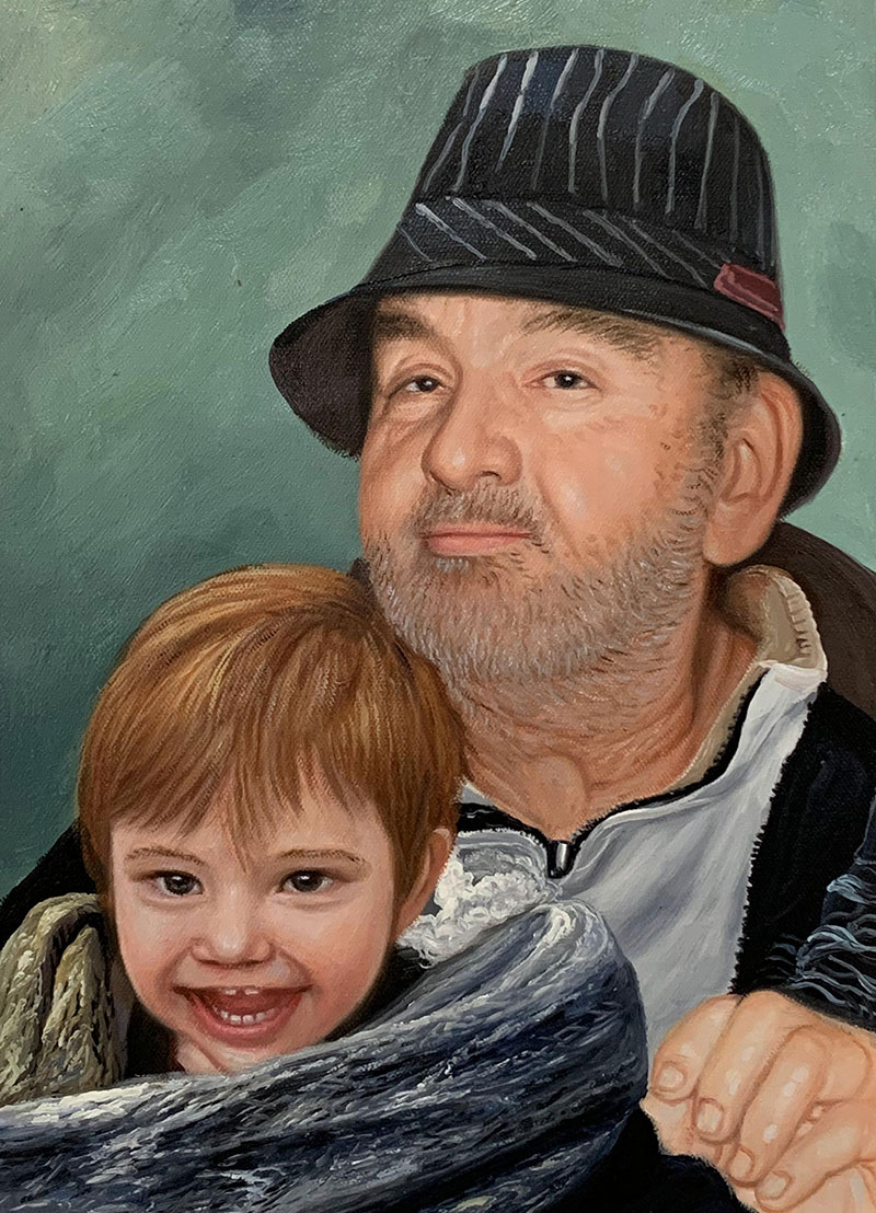 Personalized oil painting of a father and a son
