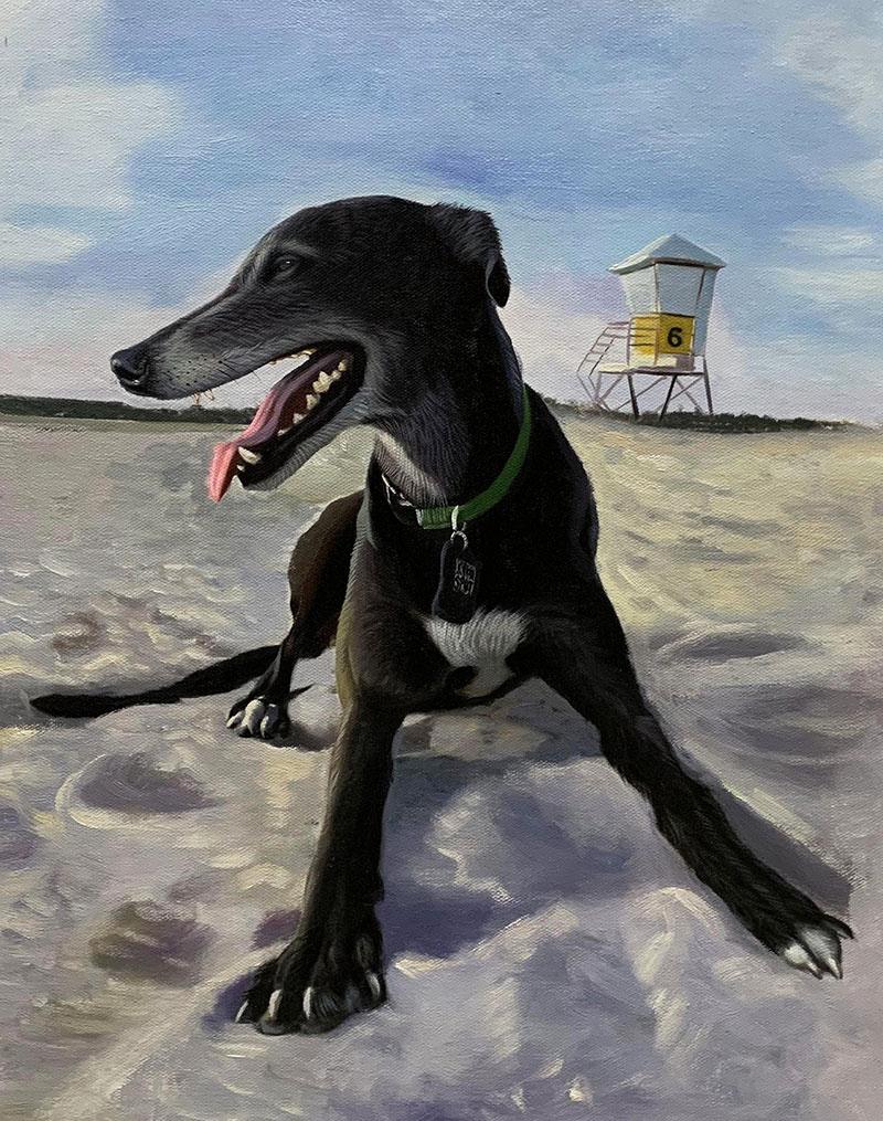 Custom oil painting of a dog on the beach