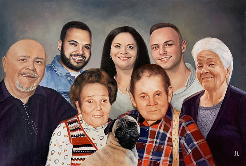 Beautiful oil painting of a family with a dog