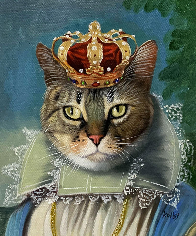 Custom oil painting of a cat with a crown