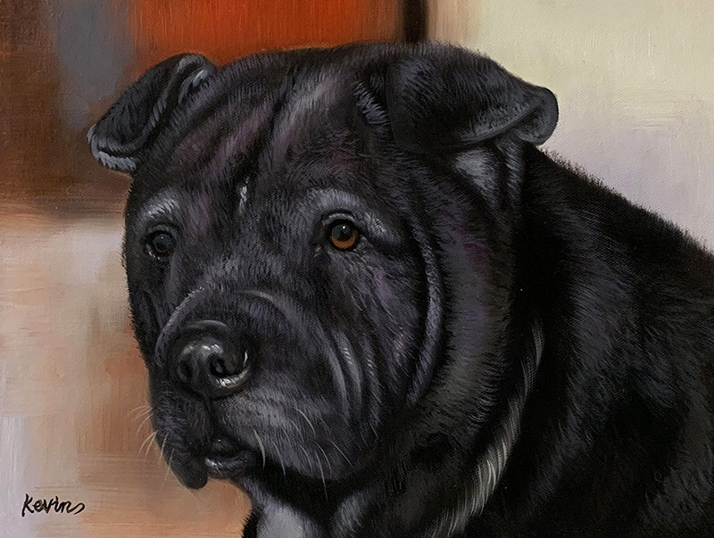 Custom oil painting of a black dog