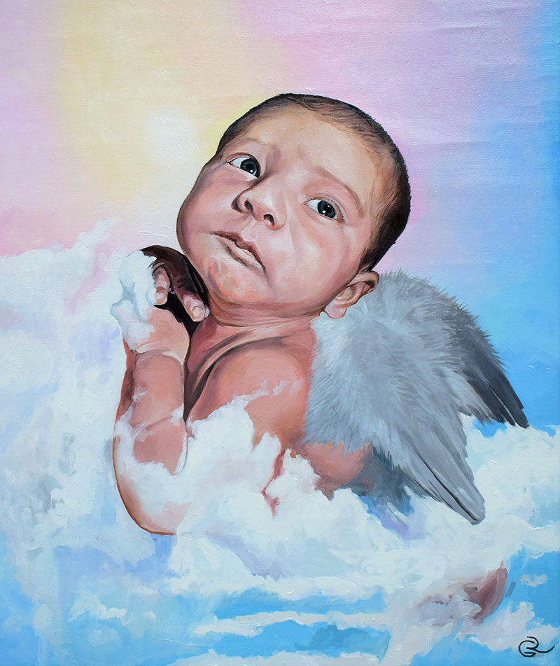 Beautiful hand drawn oil painting of a baby
