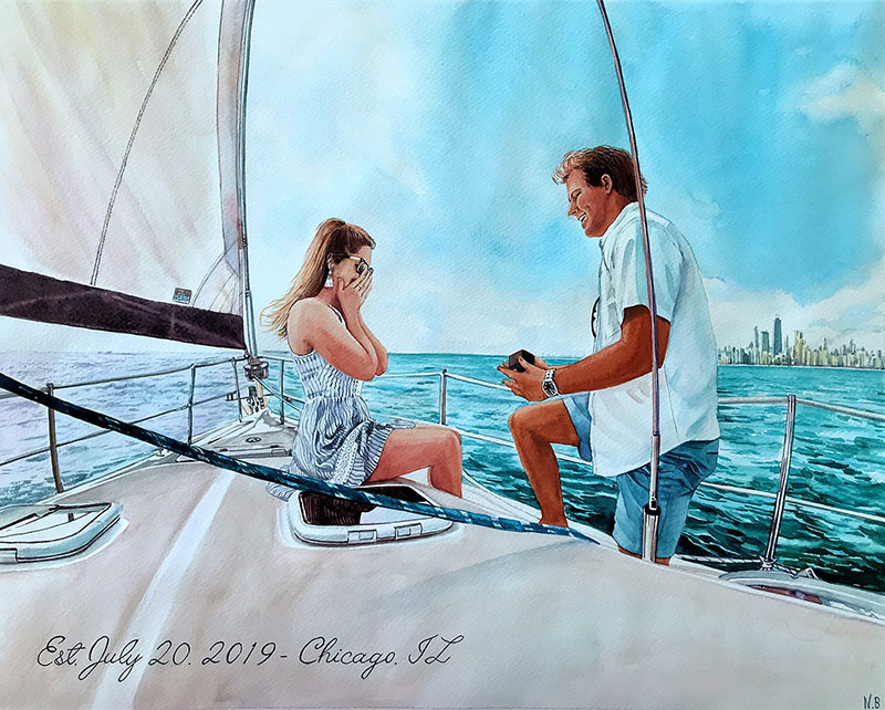 Beautiful watercolor painting of a happy couple on the yacht
