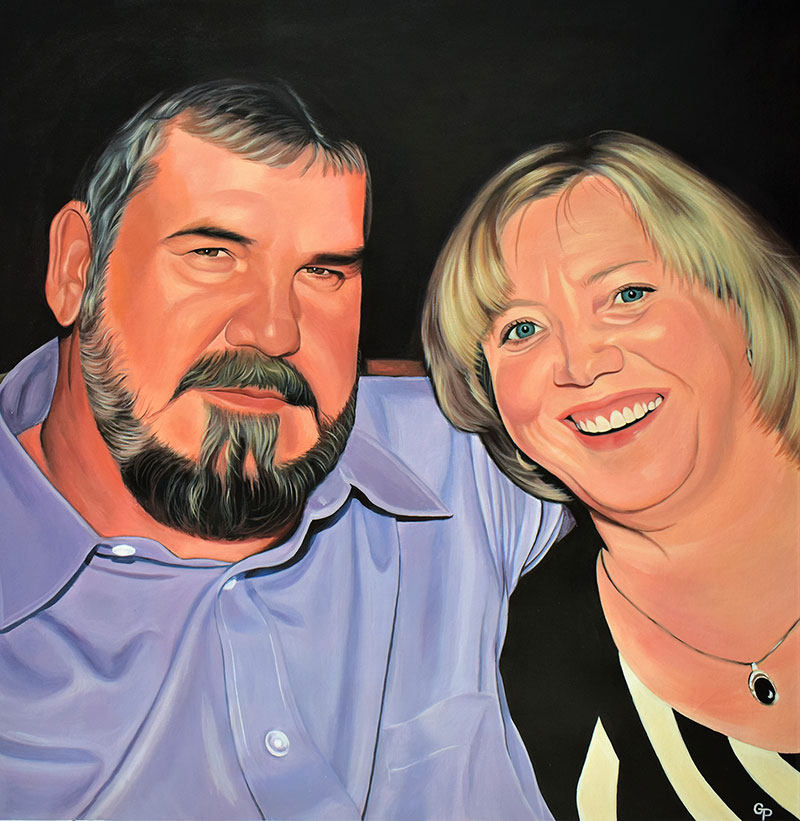 Custom acrylic painting of a smiling couple