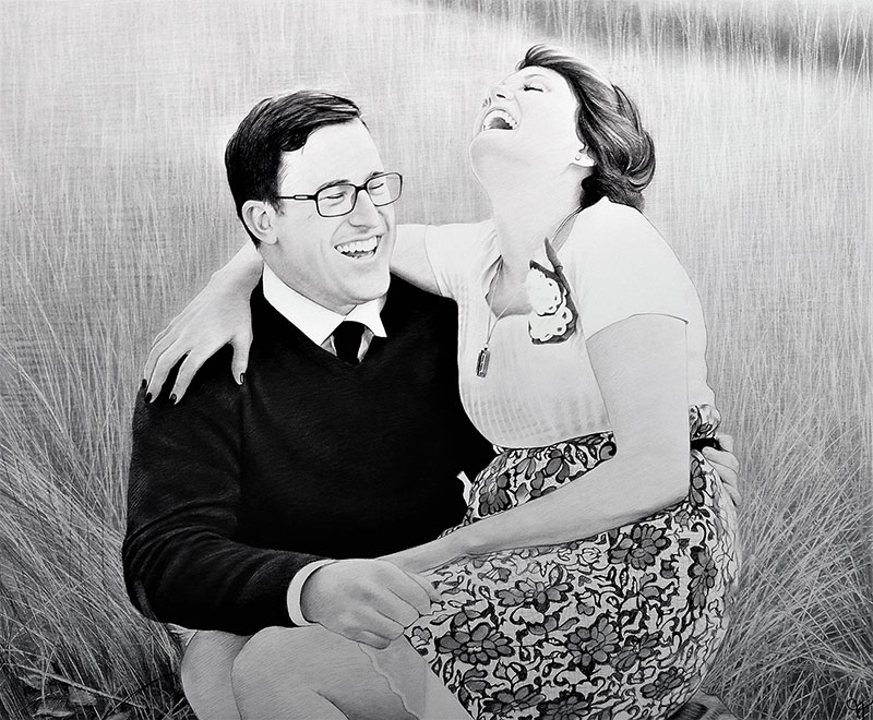 Gorgeous charcoal painting of a happy couple