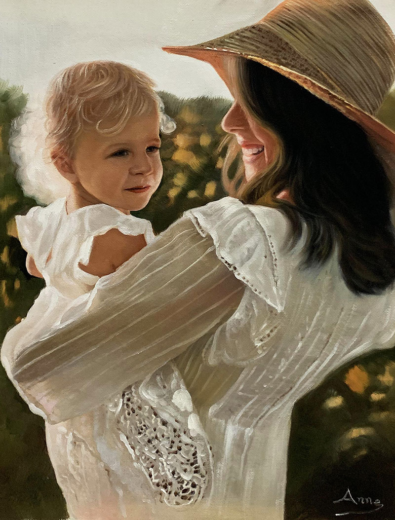 Stunning oil painting of a woman holding a baby
