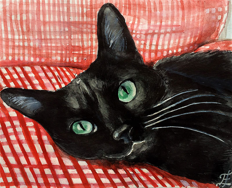 Beautiful watercolor artwork of a black cat with green eyes