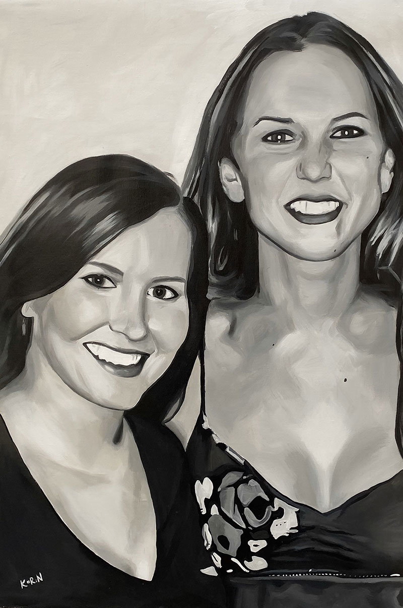 Close up acrylic painting of friends