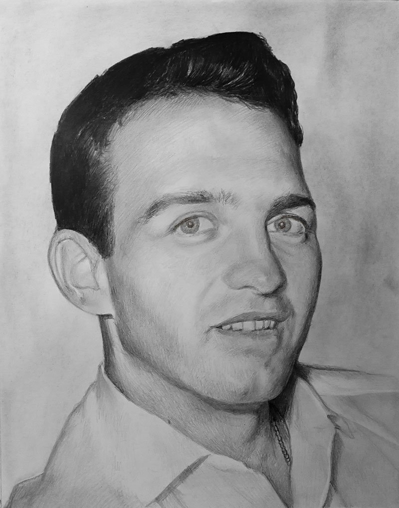 Custom black pencil artwork of a man