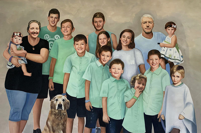 Beautiful oil family portrait of fifteen people and a dog