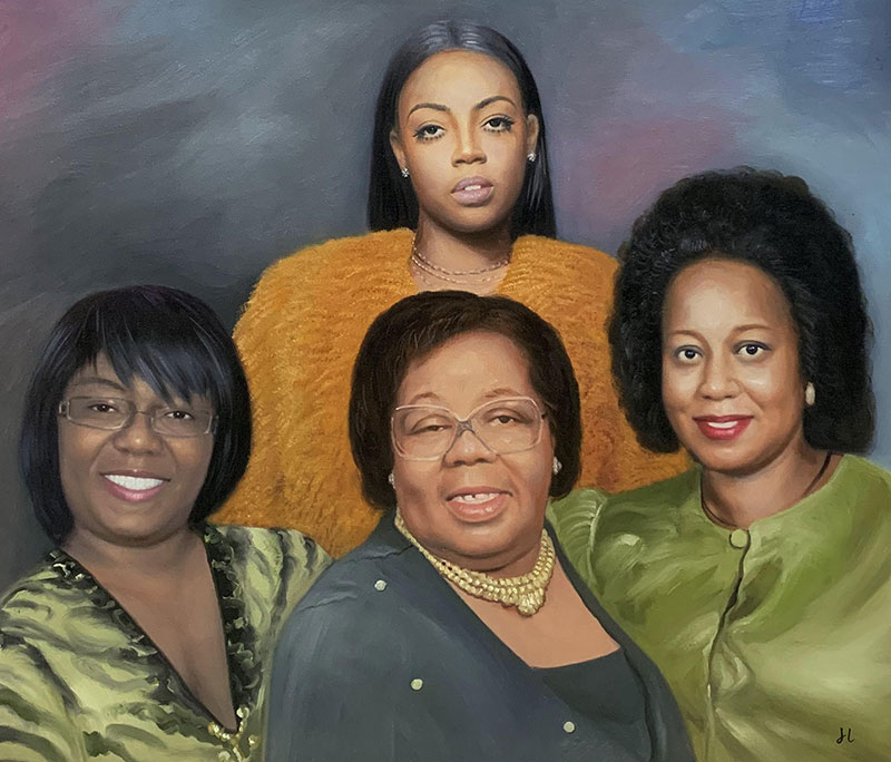 Beautiful hand drawn painting of four ladies