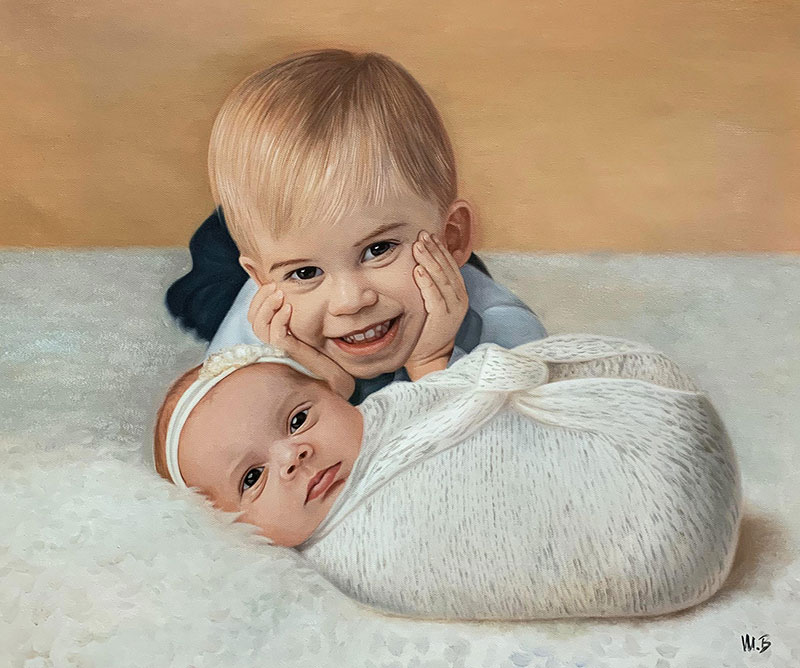 Gorgeous oil painting of the siblings