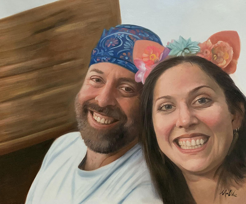 Beautiful acrylic painting of a smiling couple