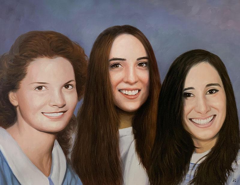 Custom handmade oil painting of the three women
