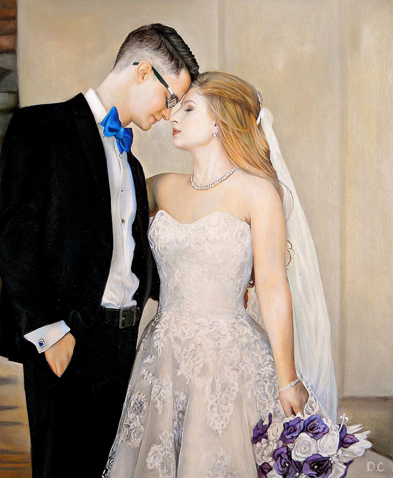 Personalized oil wedding painting