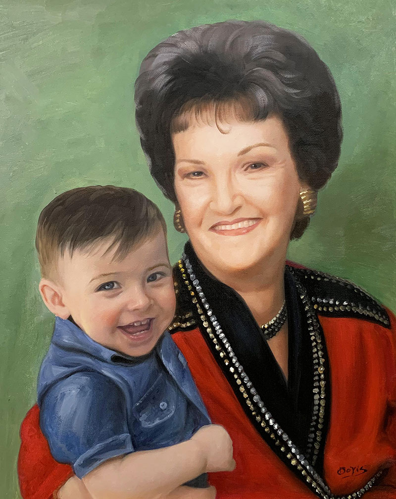 custom handmade oil painting of a grandmother and a grandson