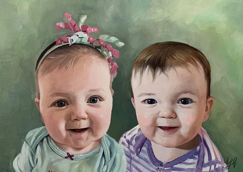 personalized acrylic painting of two children