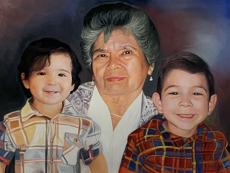 Personalized oil painting of a grandmother with two grandson
