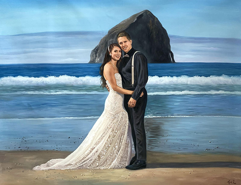 Gorgeous oil artwork of a bride and a groom by the sea