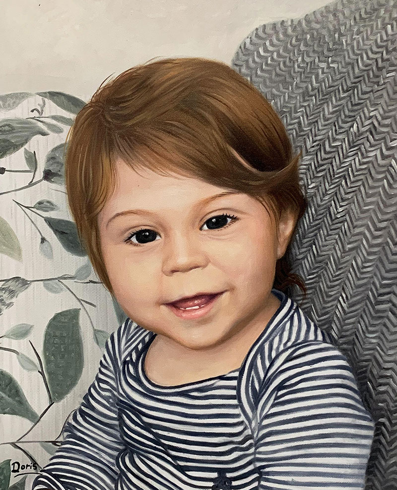 Hyper realistic oil drawing of a baby