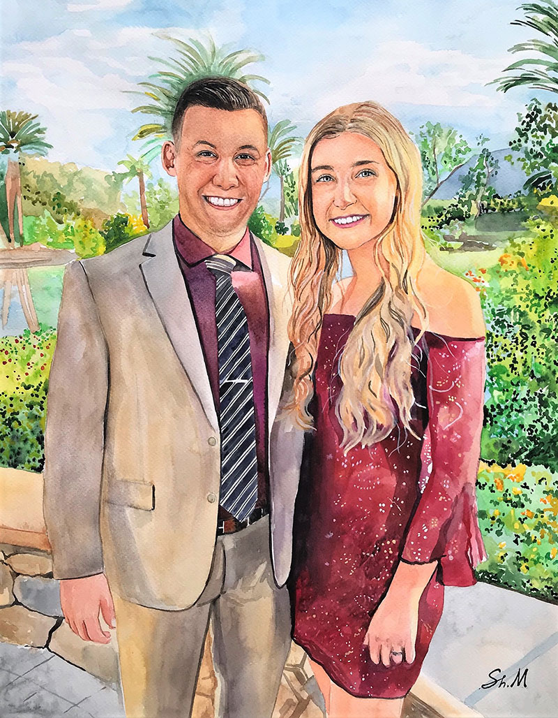 Watercolor painting of a happy couple