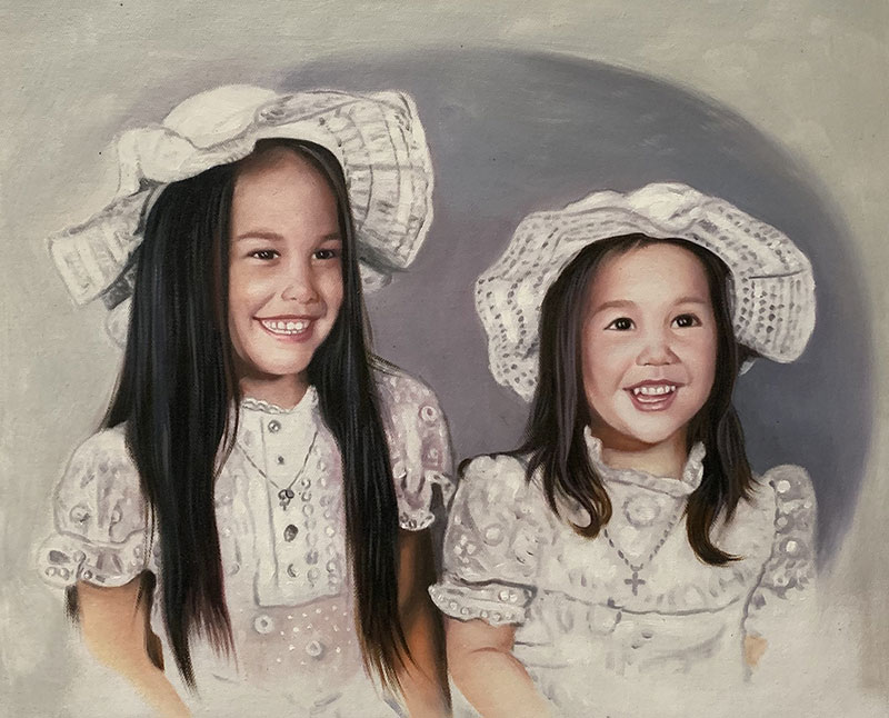 Beautiful vintage artwork of two girls with hats
