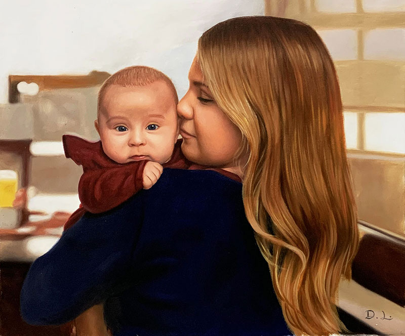 Stunning acrylic artwork of a mom kissing baby