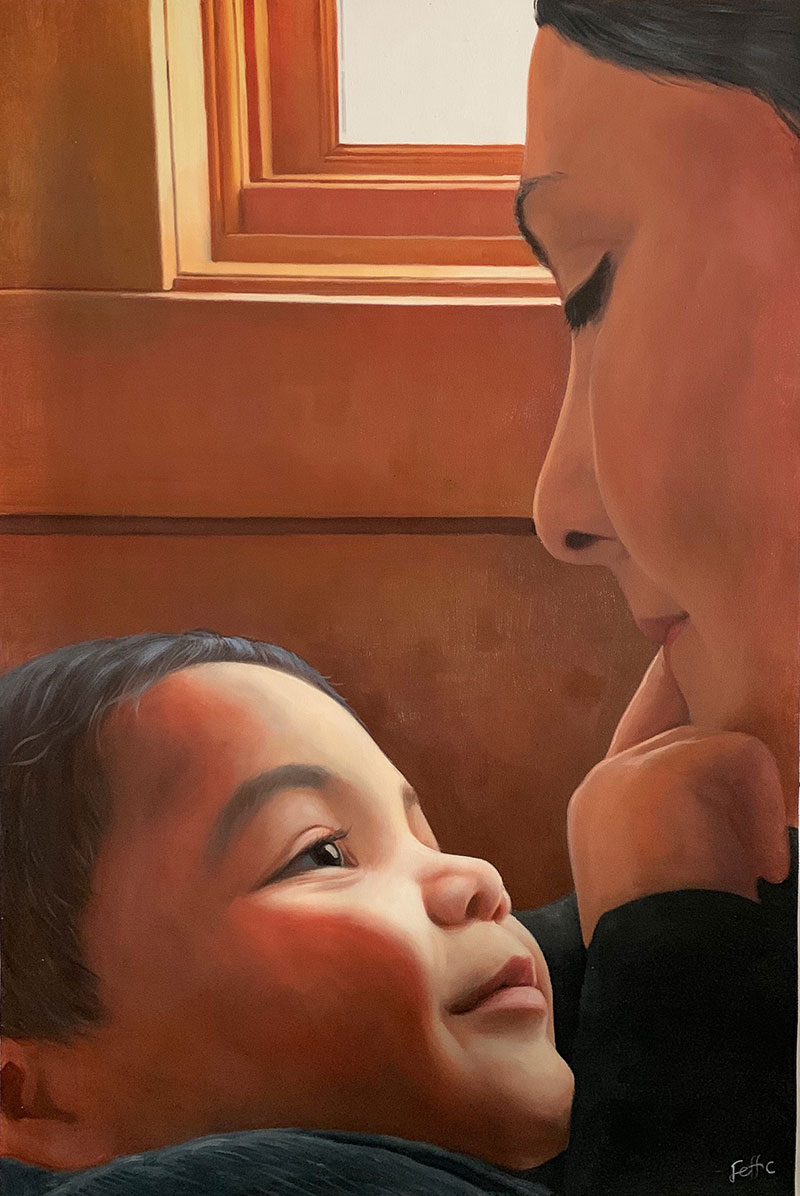 Stunning oil artwork of a mother with child