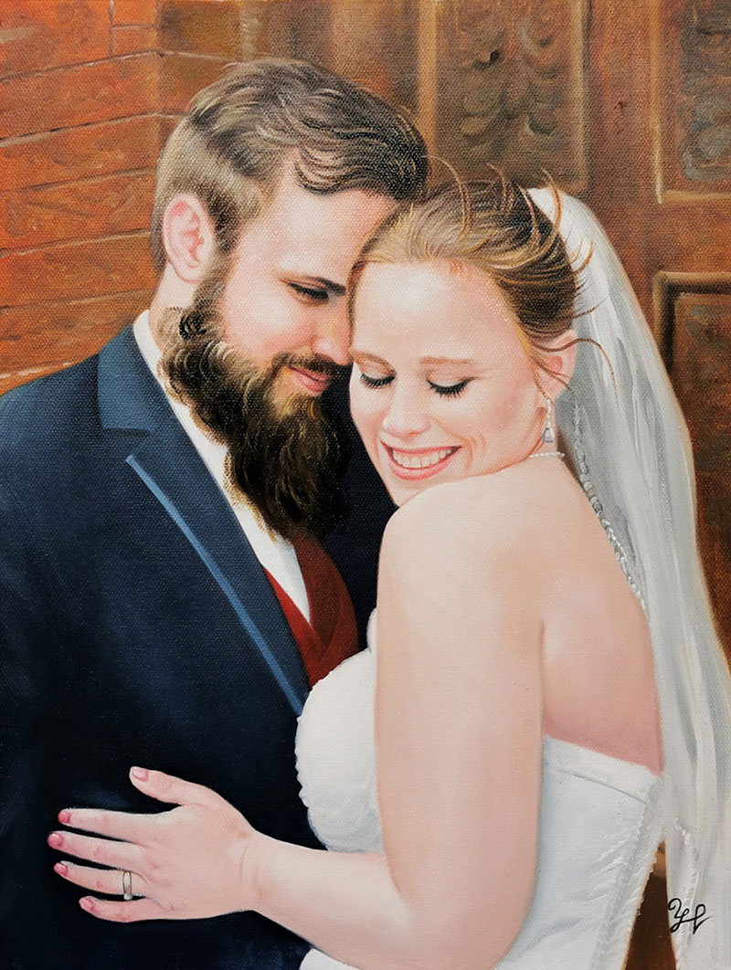 Stunning oil portrait of a just married couple