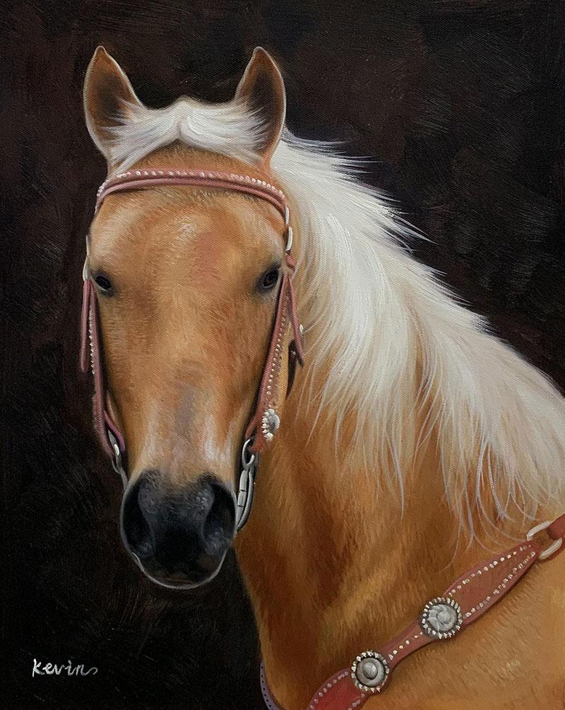 Handmade oil artwork of a horse