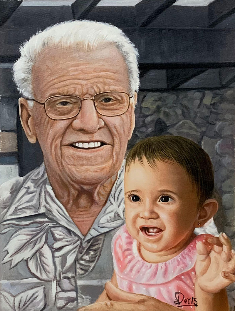 Custom oil painting of a grandfather with a granddaughter