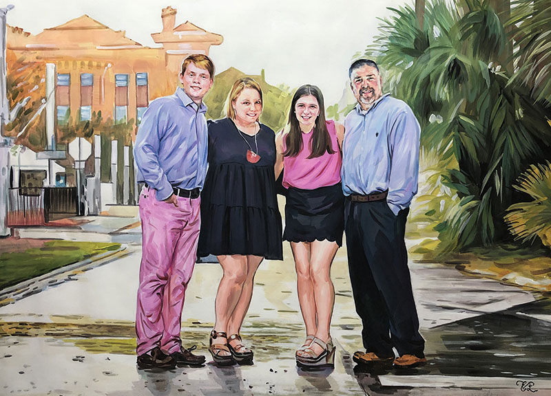 Beautiful pastel painting of a family