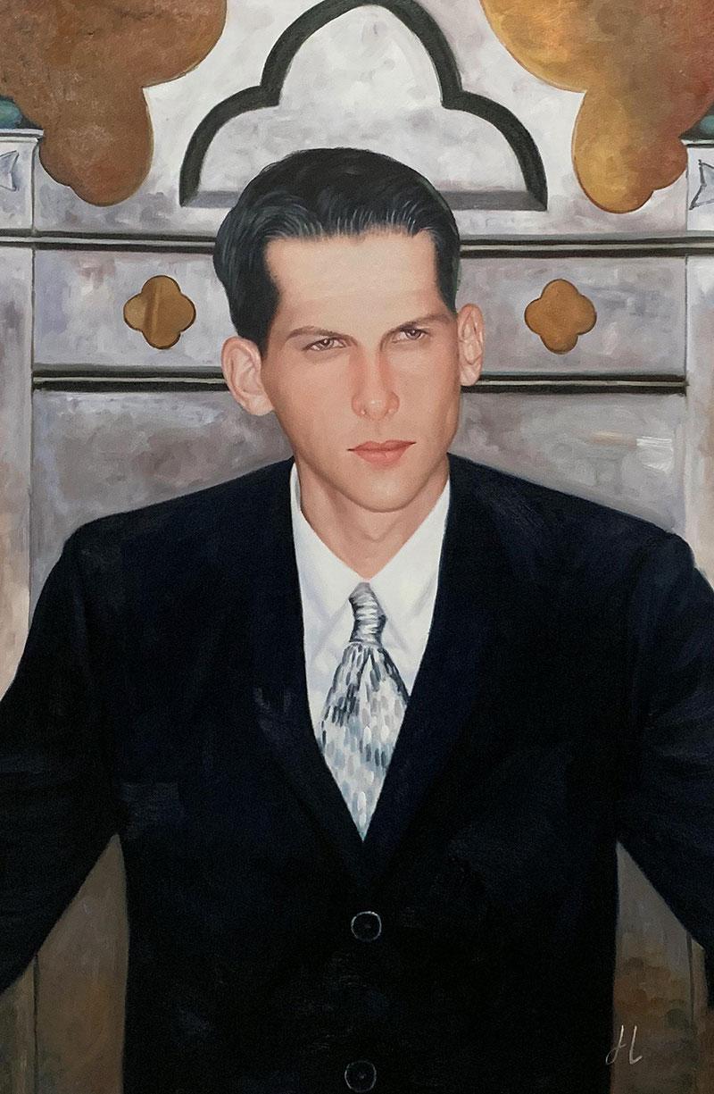 Custom oil portrait of a man in suit