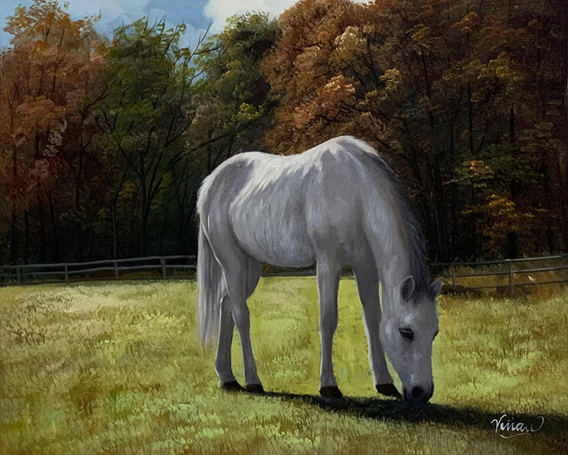Stunning acrylic painting of a white horse in the nature