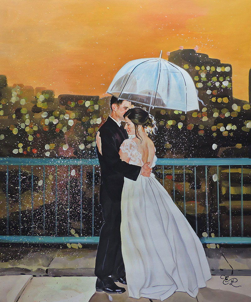 wedding portrait of a couple with umbrella in pastel