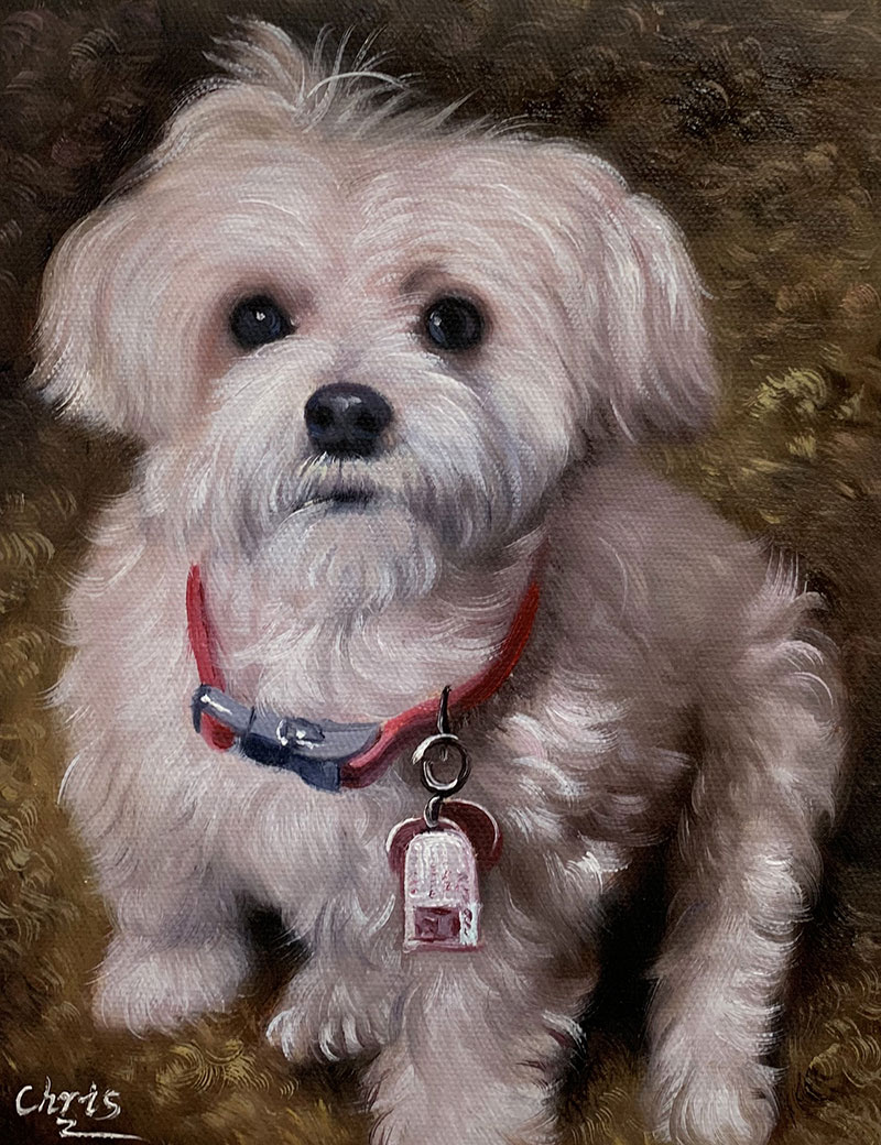 a handmade oil painting of tiny white dog