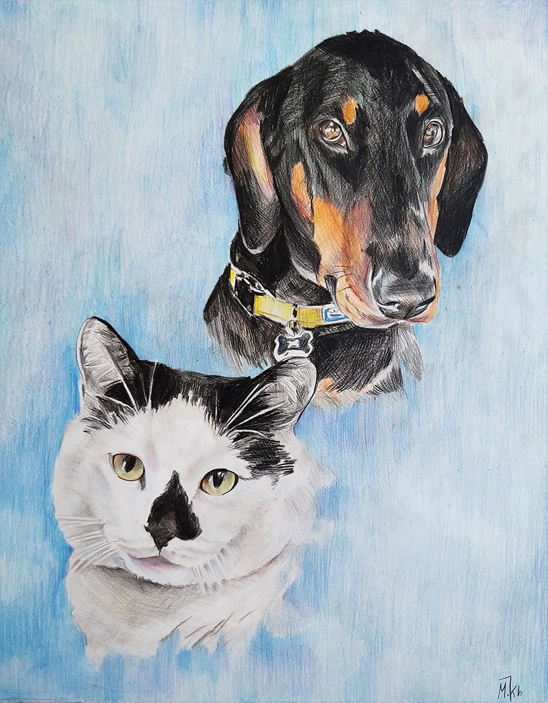 Custom color pencil drawing of multiple pets