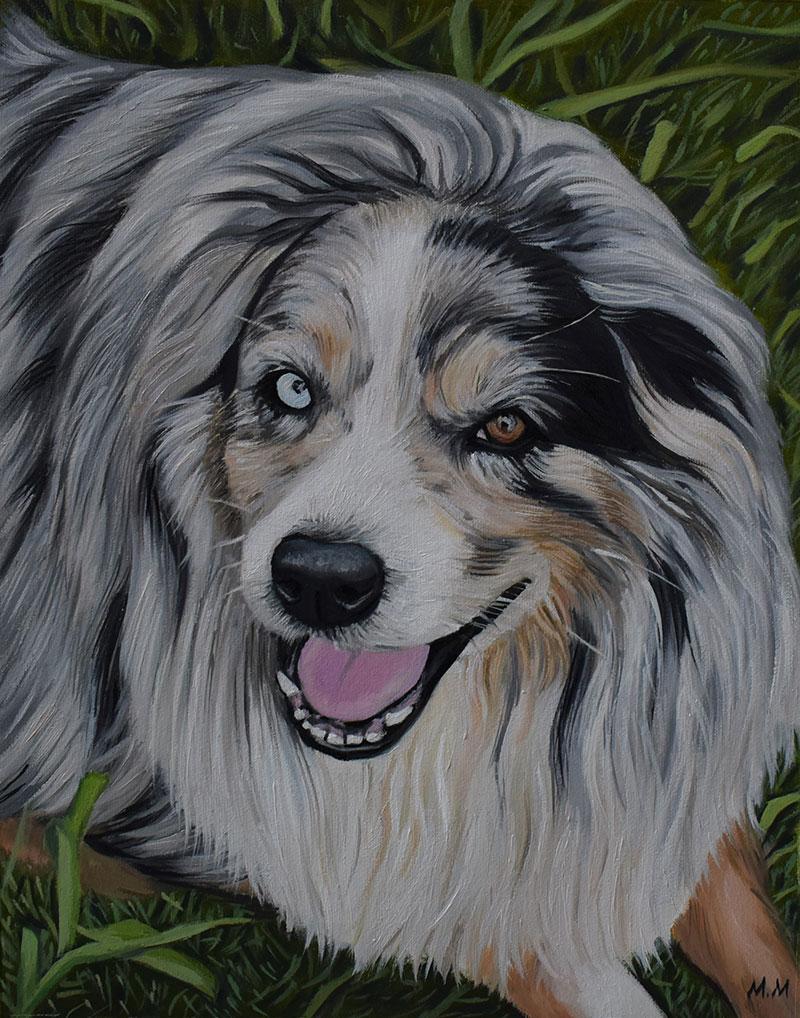 custom acrylic painting of grey dog with multicolored eyes