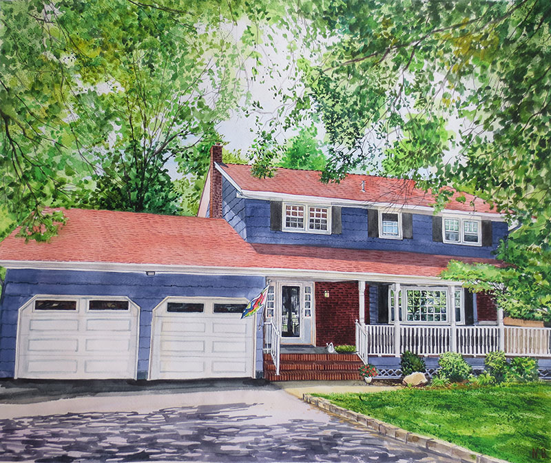 custom watercolor painting blue house with flag