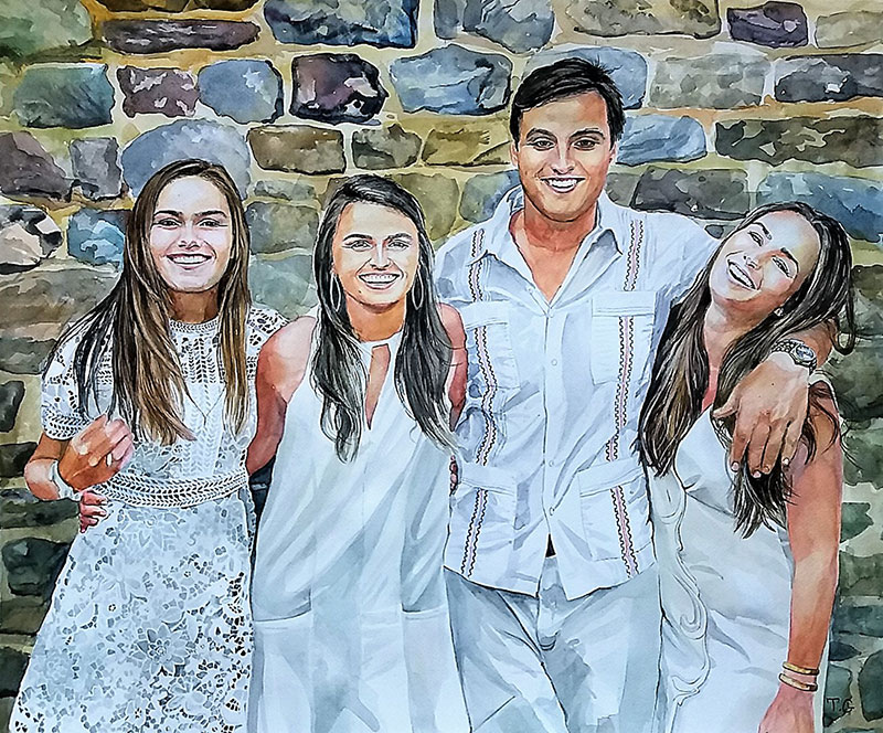 Stunning watercolor painting of the family