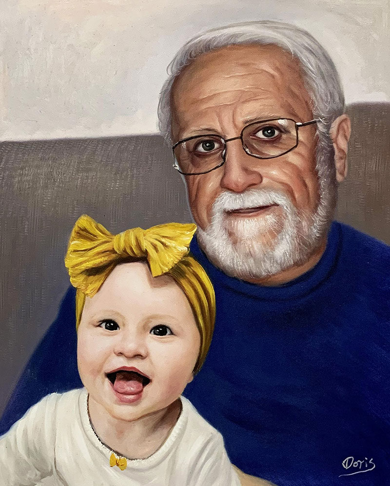 Custom oil artwork of a grandfather and a granddaughter