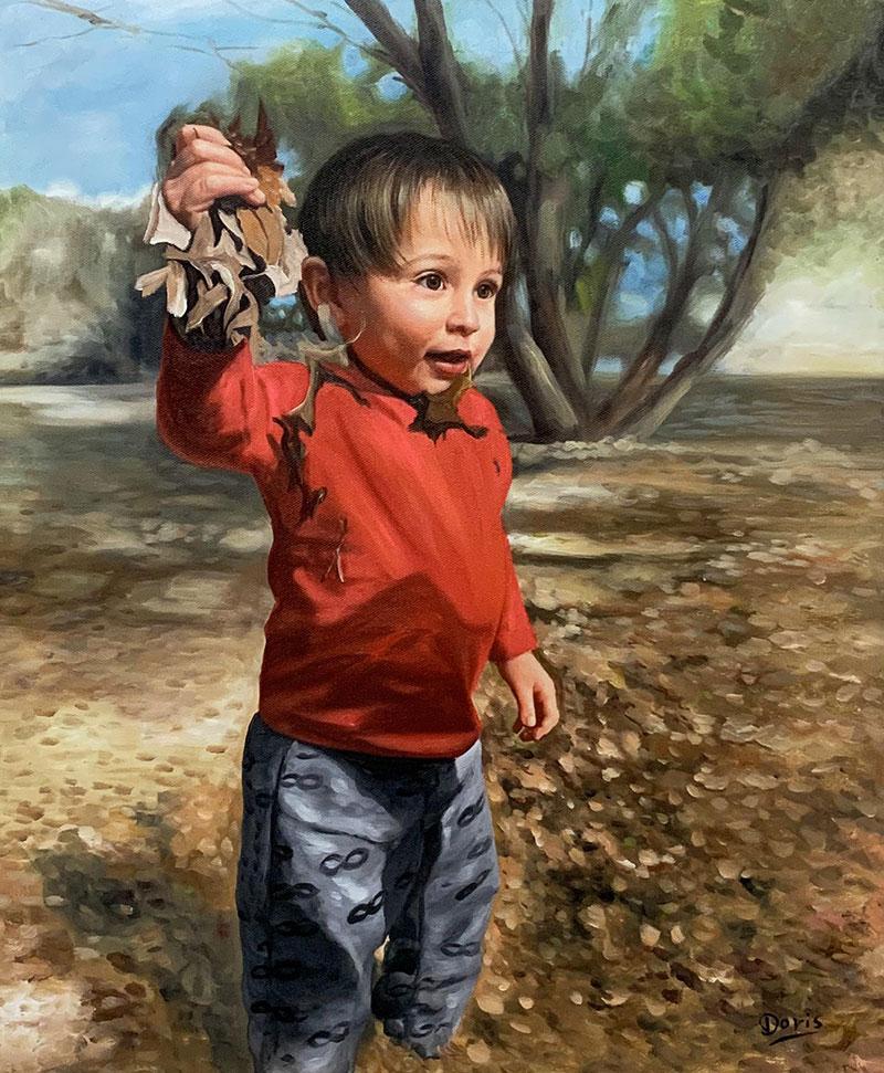 Beautiful oil portrait of a boy