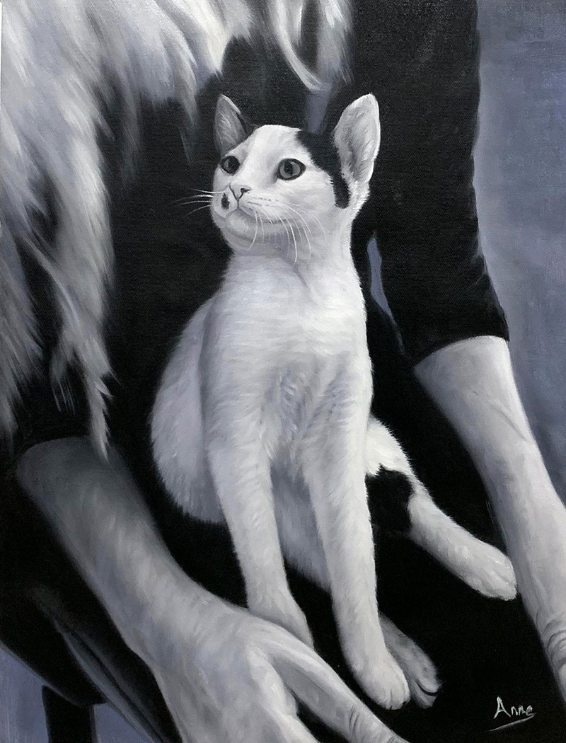 Custom black and white oil painting of a cat